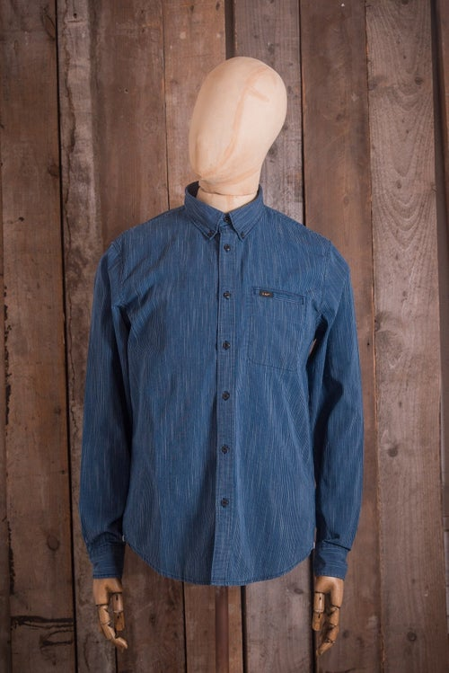9b771929 Lee Button Down L S Shirt - Stripe Through Blue